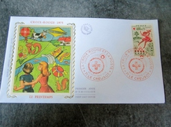 FDC Silk Soie Croix Rouge Red Cross 1975 Le Creusot  71 France - FDC