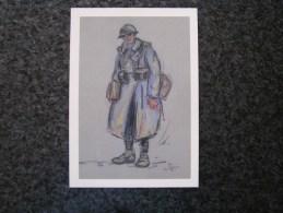 Carte Postale Reproduction Dessin Raymond André PAILLETTE Poilu SOLDATS FRANCAIS Guerre 14 18 Grand Format 21 X 15 - Militaria