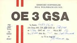 Amateur Radio QSL Card - OE3GSA - Austria - 1968 - Radio Amateur