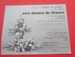 """AUX DAMES DE FRANCE """"service De Verre """" PUBLICITAIRE Publicité Liste Rayon Cadeaux De Mariage Voeux De Bonheur Marseille - Otros"""