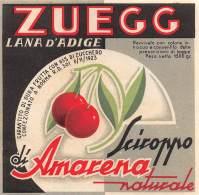 "05944 ""LANA D'ADIGE (BZ) SCIROPPO D'AMARENA NATURALE - C. & V. ZUEGG"". ETICHETTA ORIGINALE - Etichette"