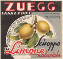 """05945 """"LANA D'ADIGE (BZ) SCIROPPO DI LIMONE NATURALE - C. & V. ZUEGG"""". ETICHETTA ORIGINALE - Etichette"""