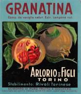"""05946 """"RIVOLI T.SE (TO) GRANATINA - SCIROPPO DI PURO FRUTTO E ZUCCHERO - ARLORIO & FIGLI - TORINO"""". ETICHETTA ORIGIN - Etichette"""