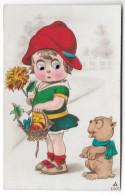 Girl W Basket And Dog Mechanical Add On Moving Eyes German Novelty Postcard Ph - Mechanical
