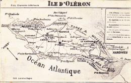 """Contour Géographique """"Ile D'Oléron""""avec Texte De Présentation - Pas Circulé - Cartes Géographiques"""