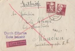 SBZ Brief Eilbote Mif Minr.219,227 Freiberg 21.12.52 Gel. Nach München - Sowjetische Zone (SBZ)