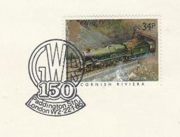 1985 GB Stamps COVER EVENT Pmk GWR PADDINGTON  Cornish Riviera Railway Steam Train - Trains
