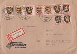Fr. Zone R-Brief Mif Minr.2, 3, 5x 6, 2x 8 Reutlingen 22.6.46 - Französische Zone