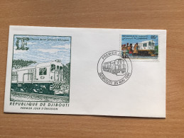Djibouti Dschibuti 1991 FDC Chemin De Fer Ethiopie Addis-Abeba Train Zug Eisenbahn Mi. 555 - Dschibuti (1977-...)