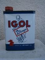 Ancien Bidon D'huile Moto 2 Temps IGOL Vers Années 1950 Visuel D'un Coq - Other