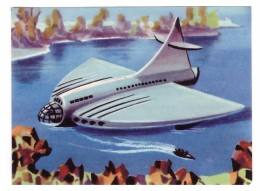 SPACE SCI-FI CARD - 1954´s UK - SAILING INTO SPACE - TERRIFIC EMBOSSED ARTWORK - 1 - Andere