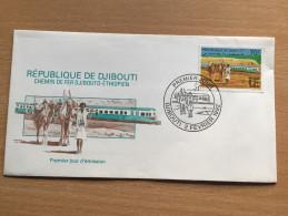 Djibouti Dschibuti 1992 FDC Chemin De Fer Addid-Abeba Ethiopie Train Eisenbahn Zug Railways Mi. 565 - Dschibuti (1977-...)