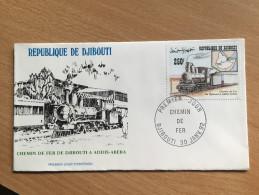 Djibouti Dschibuti 1992 FDC Chemin De Fer Addis-Abeba Ethiopie Dampflokomotive Locomotive Vapeur Train Mi. 564 - Dschibuti (1977-...)