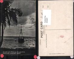 434287,Ceylon Sri Lanka Colombo Wellawatte Sunset And Palms Segelschiff Strand - Sri Lanka (Ceylon)