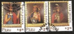 B)1998 PERU, INDIANS, CULTURE, INCA RULERS,  LLOQUE YUPANQUI, SINCHI ROCA, MANCO CAPAC, SC 1187-1189  A528, S/S, MNH - Peru