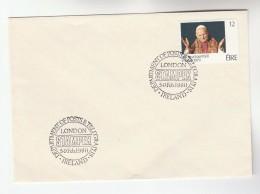 1980 IRELAND POPE Stamps COVER EVENT Pmk IRELAND LONDON STAMPEX Religion - 1949-... Republic Of Ireland