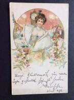 AK Weihnachten Gemalt Von: KRATKI , Lithographien Junge Mädchen Mit Einem Glas Champagner In Der Nacht 1900 - Weihnachten