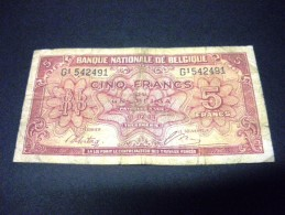 BELGIQUE 5 Francs 01/02/1943, Pick KM N°121, BELGIUM - [ 2] 1831-... : Royaume De Belgique