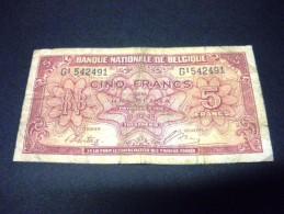BELGIQUE 5 Francs 01/02/1943, Pick KM N°121, BELGIUM - [ 2] 1831-... : Regno Del Belgio