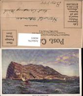 442831,Künstler AK Gibraltar Port Teilansicht Berg Segelboot - Gibraltar