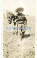 53440 REAL PHOTO COSTUMES BOY COWBOY WITH PONY HORSE NO POSTAL TYPE POSTCARD - Alte Papiere