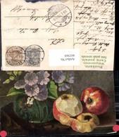 445569,Künstler Ak Stillleben Essen Apfel Früchte Blumen Vase - Küchenrezepte