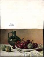 445570,Künstler Ak M. Billing Krug Kirschen A. Teller Stillleben Essen - Küchenrezepte