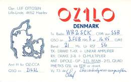 Amateur Radio QSL Card - OZ1LO - Haarlev, Denmark - 1968 - Radio Amateur