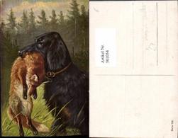 501054,Künstler Ak August Müller München Hund M. Fuchs In Maul - Chiens