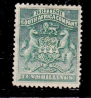 Southern Rhodesia, B.S.A.Co., 1892, Arms, 10/= Green, MH * - Southern Rhodesia (...-1964)