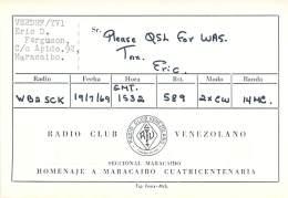 Amateur Radio QSL Card - VE2DHF/YV1 - Venezuela - 1969 - 2 Scans - Radio Amateur