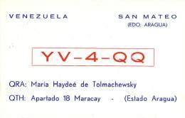 Amateur Radio QSL Card - YV4QQ - Venezuela - 1967 - 2 Scans - Radio Amateur