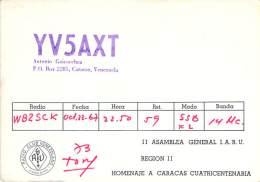Amateur Radio QSL Card - YV5AXT - Caracas, Venezuela - 1967 - 2 Scans - Radio Amateur