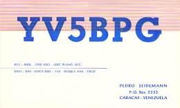 Amateur Radio QSL Card - YV5BPG - Caracas, Venezuela - 1968 - 2 Scans - Radio Amateur