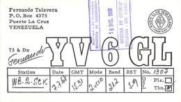 Amateur Radio QSL Card - YV6GL - Puerto La Cruz, Venezuela - 1968 - 2 Scans - STAMPED - Radio Amateur
