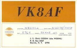 Amateur Radio QSL Card - VK8AF - Darwin, Australia - 1968 - 2 Scans - Radio Amateur