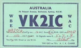 Amateur Radio QSL Card - VK2IC - Sydney, Australia - 1967 - Radio Amateur
