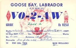 Amateur Radio QSL Card - VO2AW - Goose Bay, Labrador - 1966 - 2 Scans - STAMPED - Radio Amateur