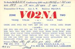 Amateur Radio QSL Card - VO2NA - Goose Bay, Labrador - 1966 - 2 Scans - STAMPED - Radio Amateur
