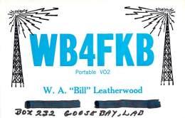 Amateur Radio QSL Card - WB4FKB/VO2 - Goose Bay, Labrador - 1968 - 2 Scans - STAMPED - Radio Amateur