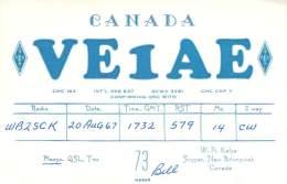 Amateur Radio QSL Card - VE1AE - Sussex, New Brunswick CANADA - 1967 - 2 Scans - Radio Amateur