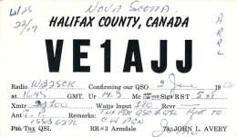 Amateur Radio QSL Card - VE1AJJ - Nova Scotia CANADA - 1968 - 2 Scans - STAMPED - Radio Amateur