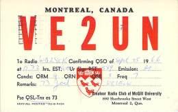 Amateur Radio QSL Card - VE2UN - Montreal, Quebec CANADA - 1966 - 2 Scans - STAMPED - Radio Amateur