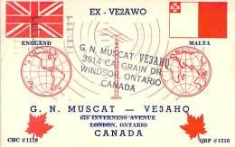 Amateur Radio QSL Card - VE3AHQ - Windsor, Ontario CANADA - 1966 - 2 Scans - STAMPED - Radio Amateur