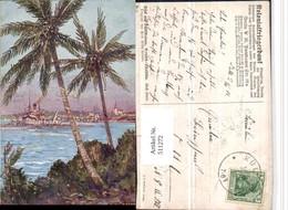 511272,Künstler AK Willy Stöwer Tansania Daressalam Dampfer Palmen - Ansichtskarten