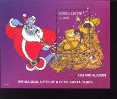 #  654-1  MINT NEVER HINGED SOUVENIR SHEET OF DISNEY ; CHRISTMAS , ALADDIN ;   (  SIERRA LEONE   1986 - Disney