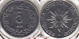 Uruguay 5 Nuevos Pesos 1989  KM#92 - Used - Uruguay