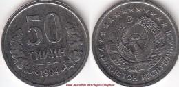 UZBEKISTAN 50 Tiyin 1994 (dotted Rim At Back) KM#6.2 - Used - Ouzbékistan