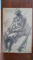 GEORGES LEROUX (1911-1997) SOLDAT ECRIVANT UNE LETTRE DANS UN ABRI WW2 SECONDE GUERRE /FREE SHIPPING R - Dessins