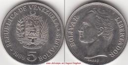 VENEZUELA 5 BOLIVARES 1989 KM#53a2 - Used - Venezuela